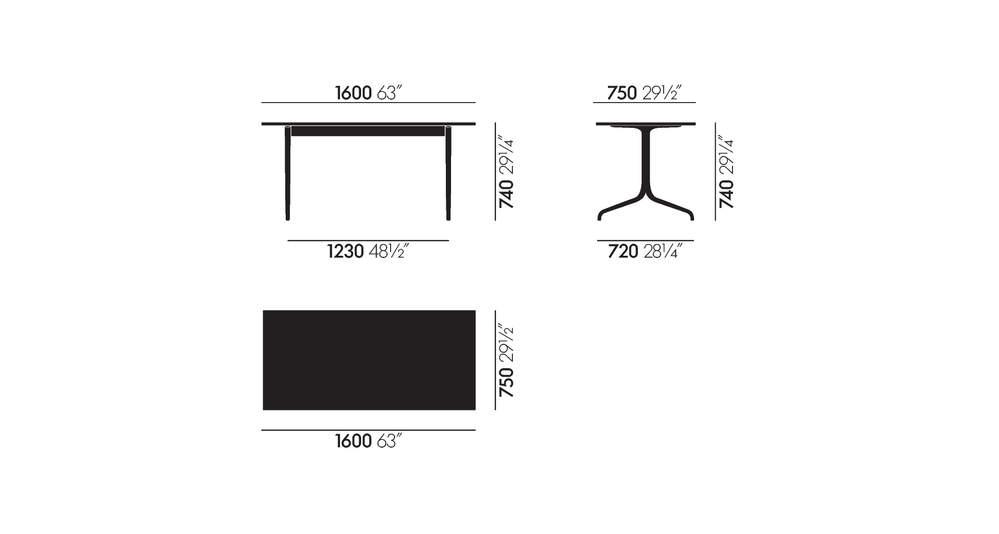 Rectangular table, 1600 x 750 mm