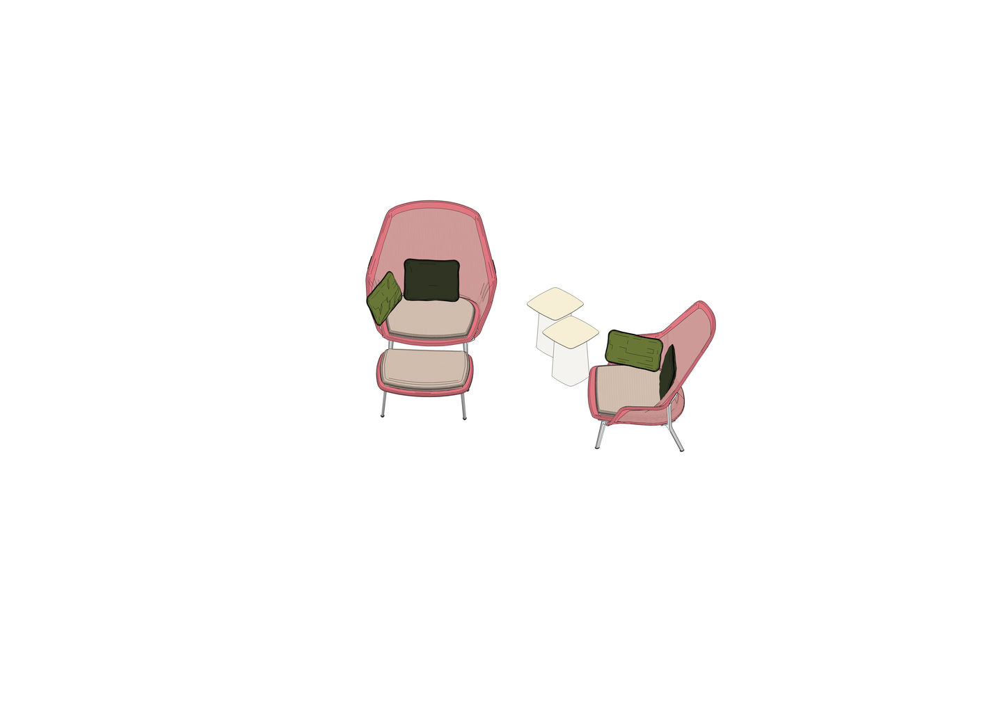 03 - Slow Chair, Ottoman, Metal Side Table -3D