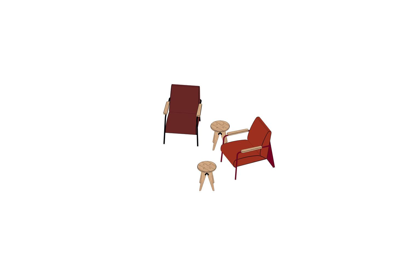 04 - Fauteuil de Salon, Tabouret Solvay -3D