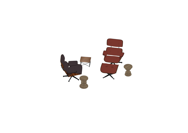 08 - Eames Lounge Chair, Ottoman, LTR, Stool -3D