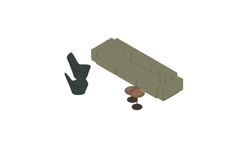 05 - Soft Modular Sofa, Monopod, Ocassional Low Table -3D