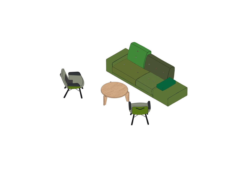 06 - Polder Sofa, East River Chair, Table Guéridon -3D