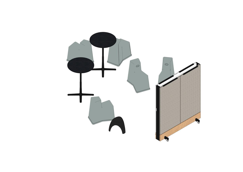 03 - Stool-Tool, Super Fold Table High Ø 79,6, Elephant Stool, Dancing Wall -3D