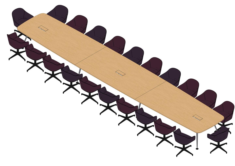 04 - MedaMorph Table 800 x 140, Softshell Chair -3D