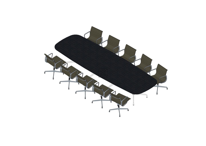 06 - Eames Segmented Table 427 x 137, Aluminium Chair EA 108 -3D