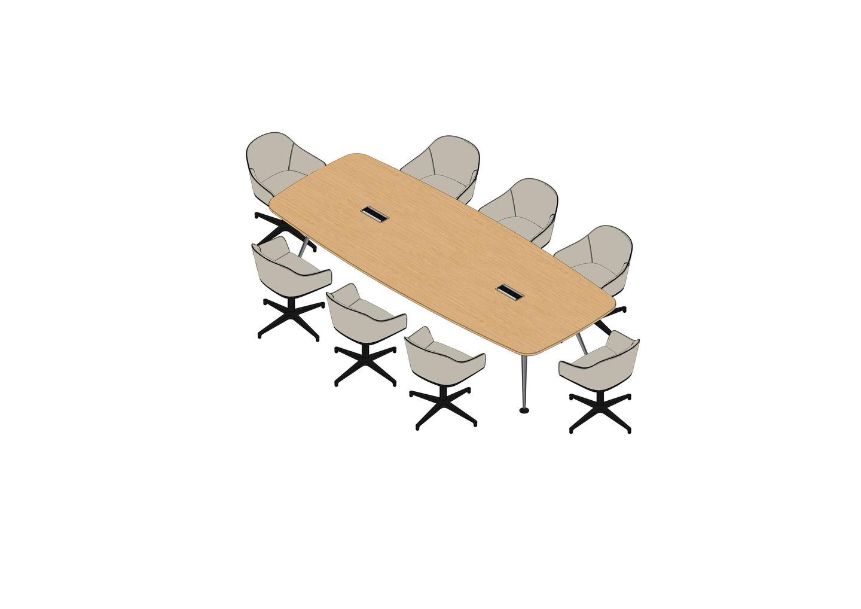 05 - MedaMorph Table 320 x 130, Softshell Chair -3D