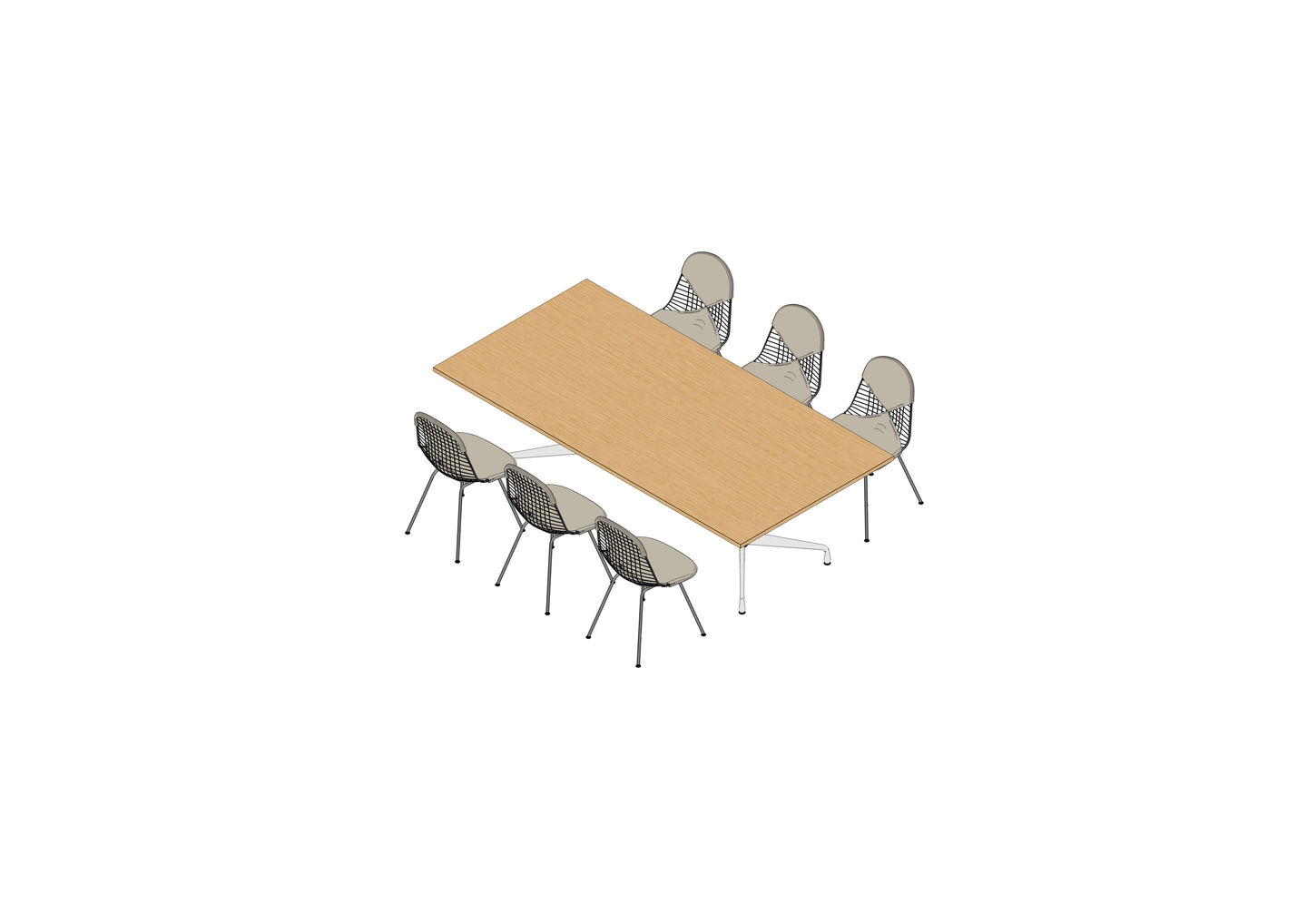 08 - Eames Segmented Table 240 x 120, Wire Chair -3D