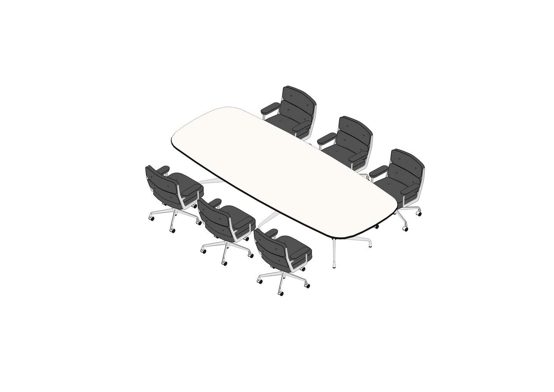 09 - Eames Segmented Table 335 x 137, Lobby Chair EA 104 -3D