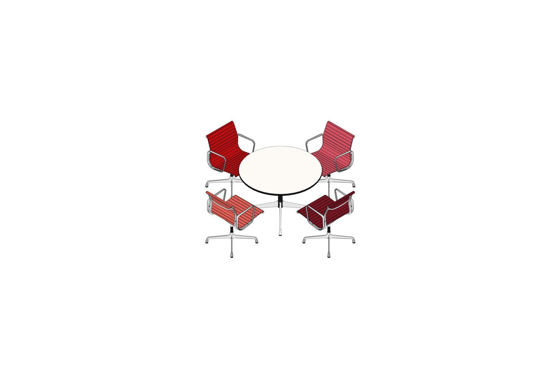 05 - Eames Segmented Table Ø 110, luminium Chair EA 108 -3D