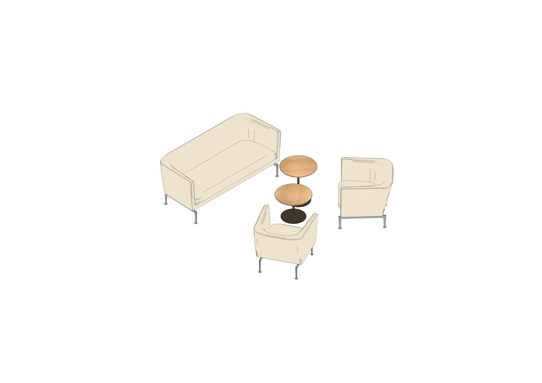 01 - Suita Club Sofa, Suita Club Armchair, Ocassional Low Table -3D