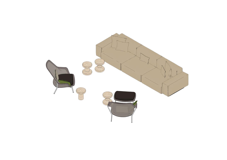 Soft Modular Sofa, Slow Chair, Slow Chair Ottoman, Cork Family