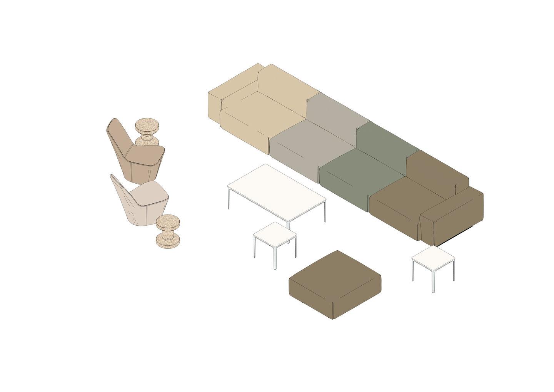 03 - Soft Modular Sofa, Monopod, Plate Table, Cork Family -3D