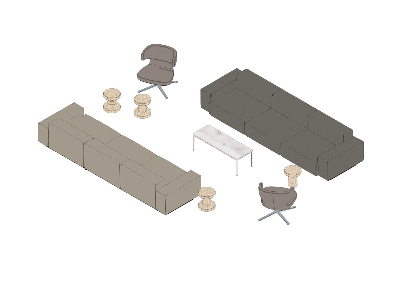 Soft Modular Sofa, Petit Repos, Plate Table, Cork Family