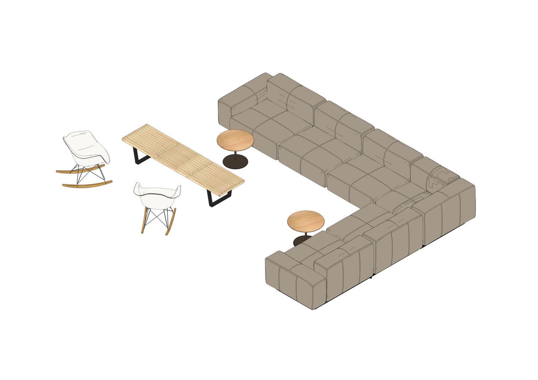 Soft Modular Sofa, Occasional Low Table, Eames RAR, Nelson Bench