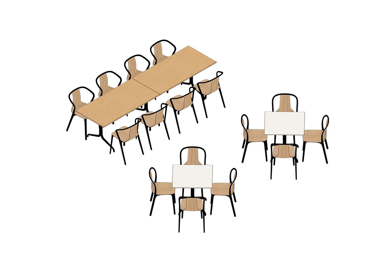 07 - Belleville Table 300 x 75  75 x 75, Belleville Chair-3D
