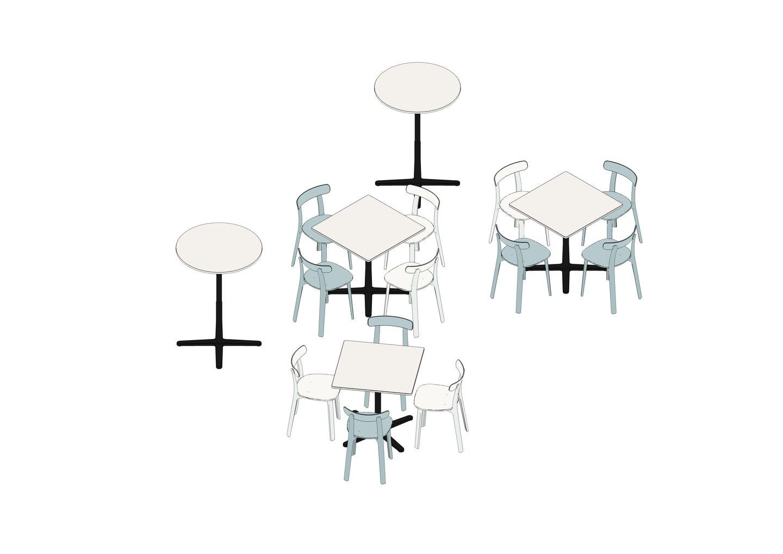 Super Fold Table High Ø 79,6 75 x 75, APC