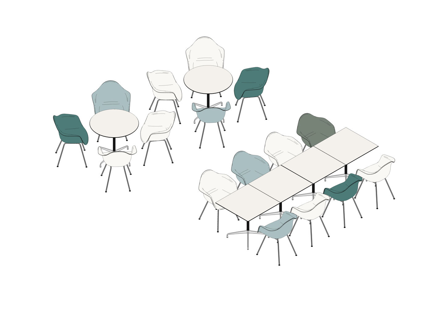 Eames Contract Table 75 x 75  Ø 80, Eames Plastic Amchair DAX