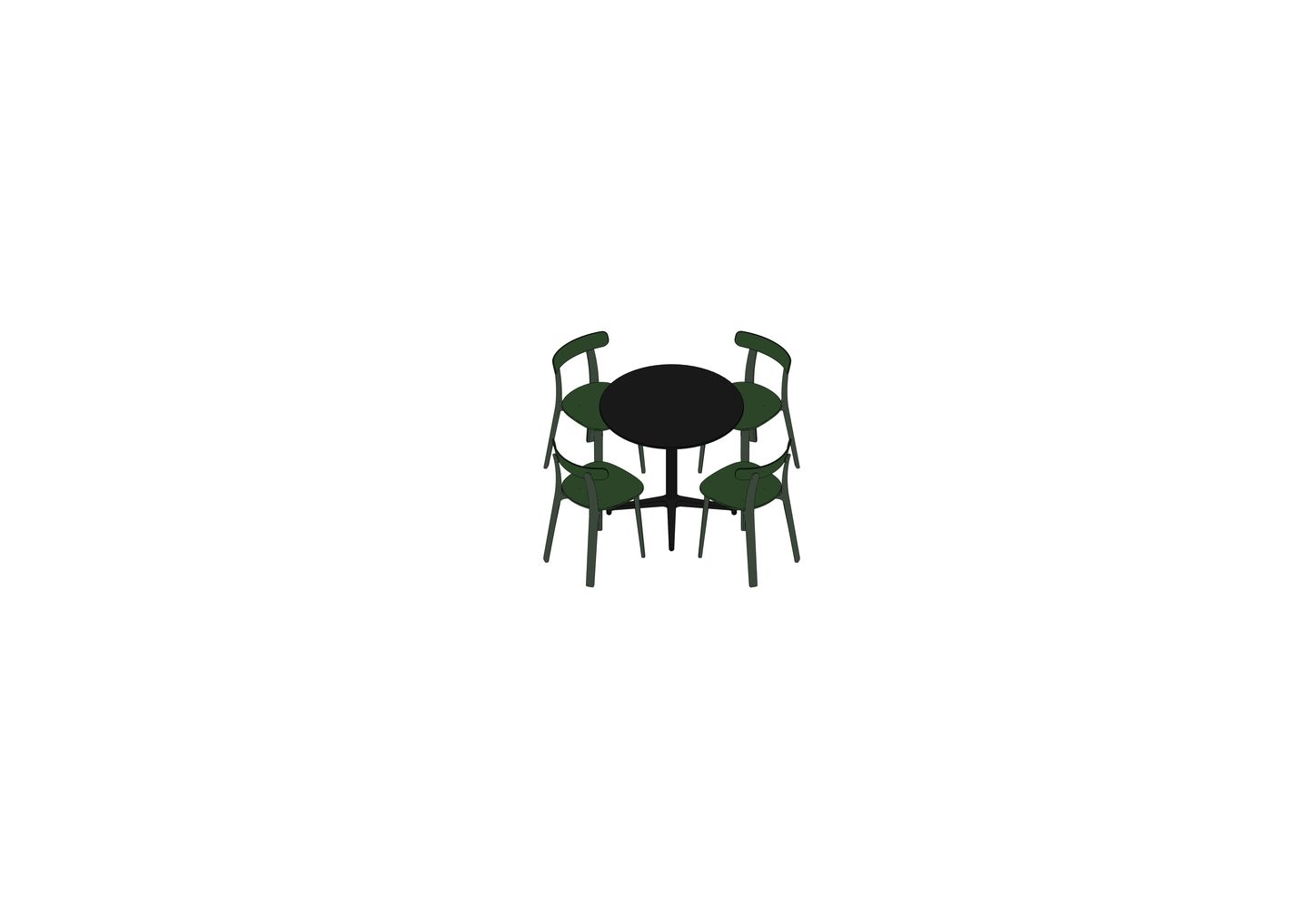 04 - Bistro Table, All Plastic Chair -3D