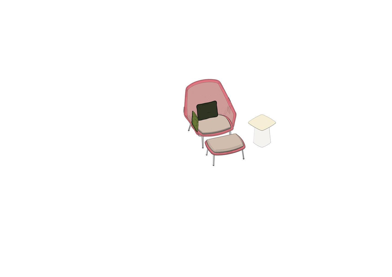 Slow Chair, Ottoman, Metal Side Table