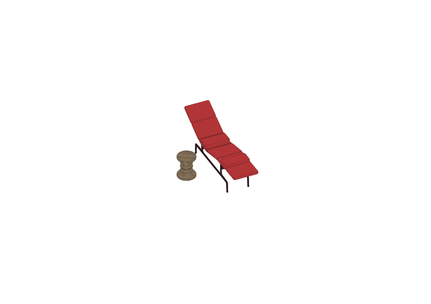 07 - Soft Pad Chaise ES 106, Stool-3D