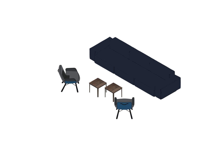 04 - Soft Modular Sofa, Plate Table, East River Chair-3D