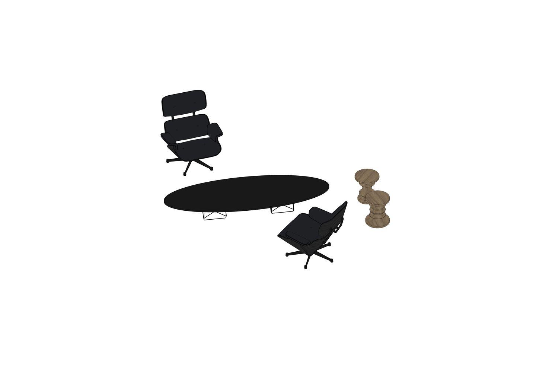 Eames Lounge Chair, Stool, ETR
