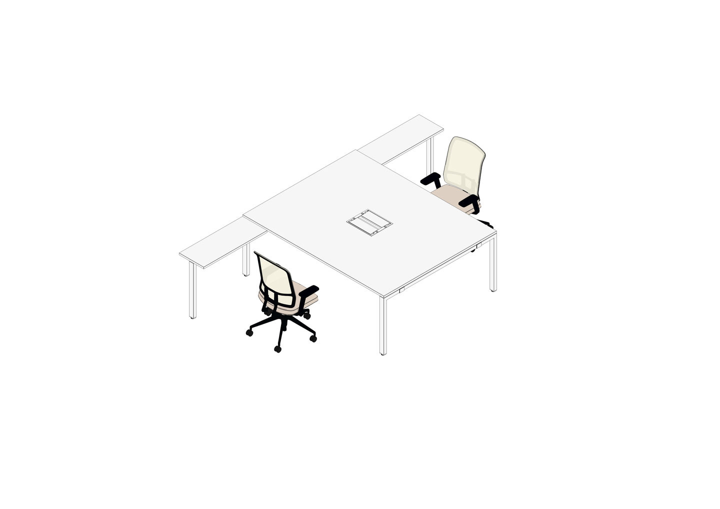 WorKit 200 x 160 with Return Table 80 x 40, AM Chair