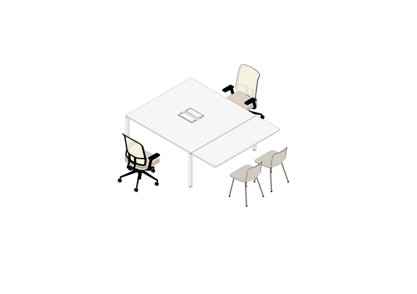 20 - WorKit 160 x 160 mit End Table 160 x 60, AM Chair, HAL Tube-3D