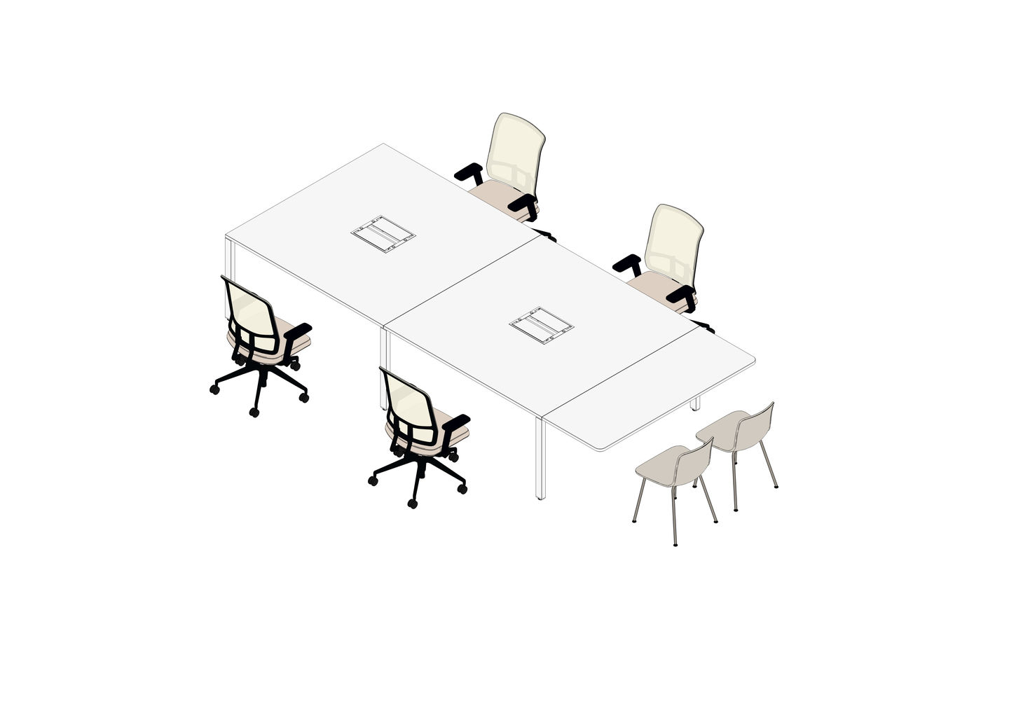 WorKit 360 x 160 with Additional Tabletop 160 x 60, AM Chair, HAL Tube