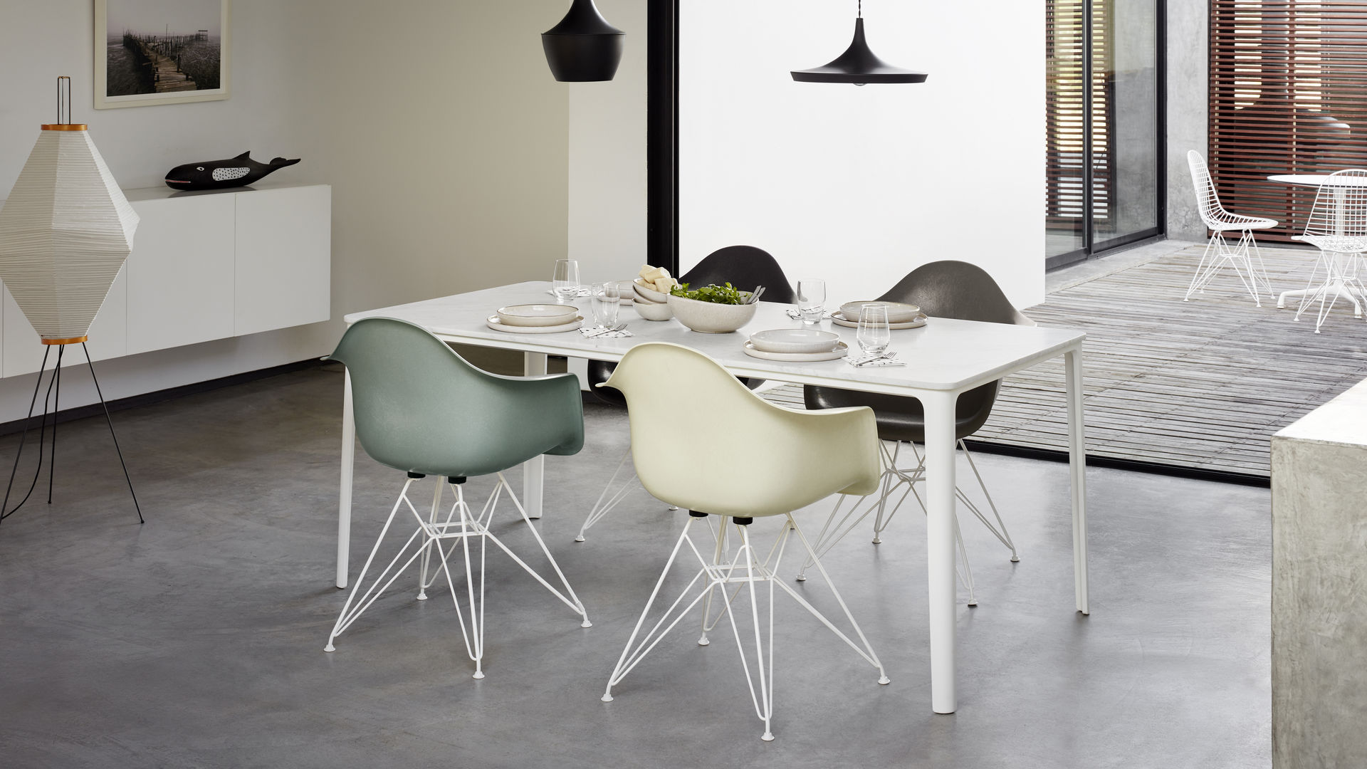 Eames Fiberglass Armchair DAR Eames House Whale Plate Dining Table Akari 13A Wire Chair_web_16-9
