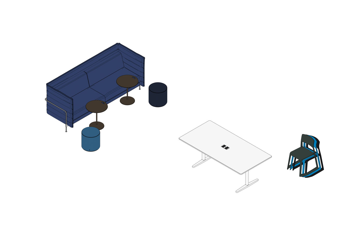 Tyde 2 Meeting 200 x 100, Tip Ton, Alcove Lowback Sofa 3 Seater, Occasional Low Table, Visiona Stool