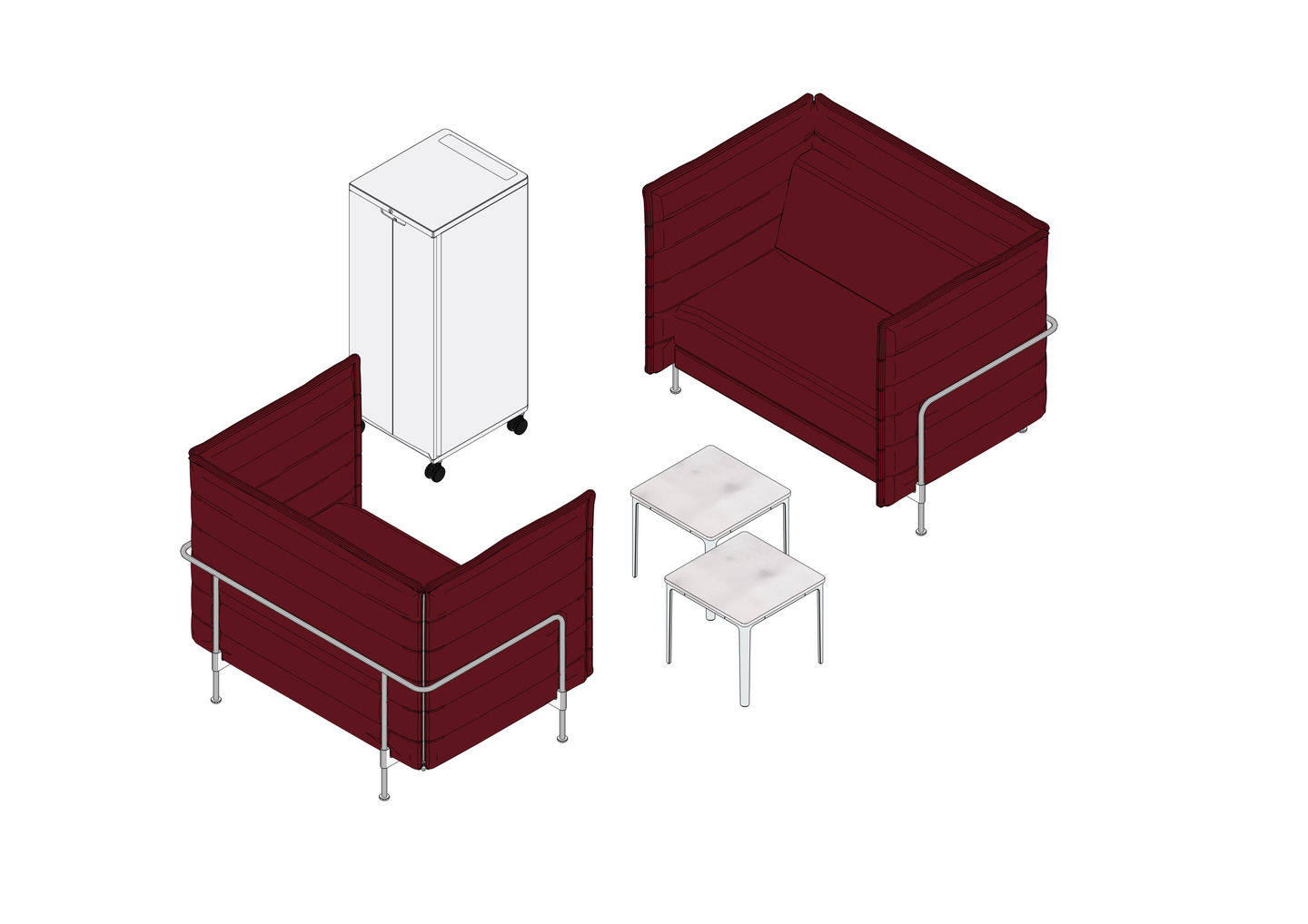 Alcove Work Love Seat Lowback, Plate Table, Caddy