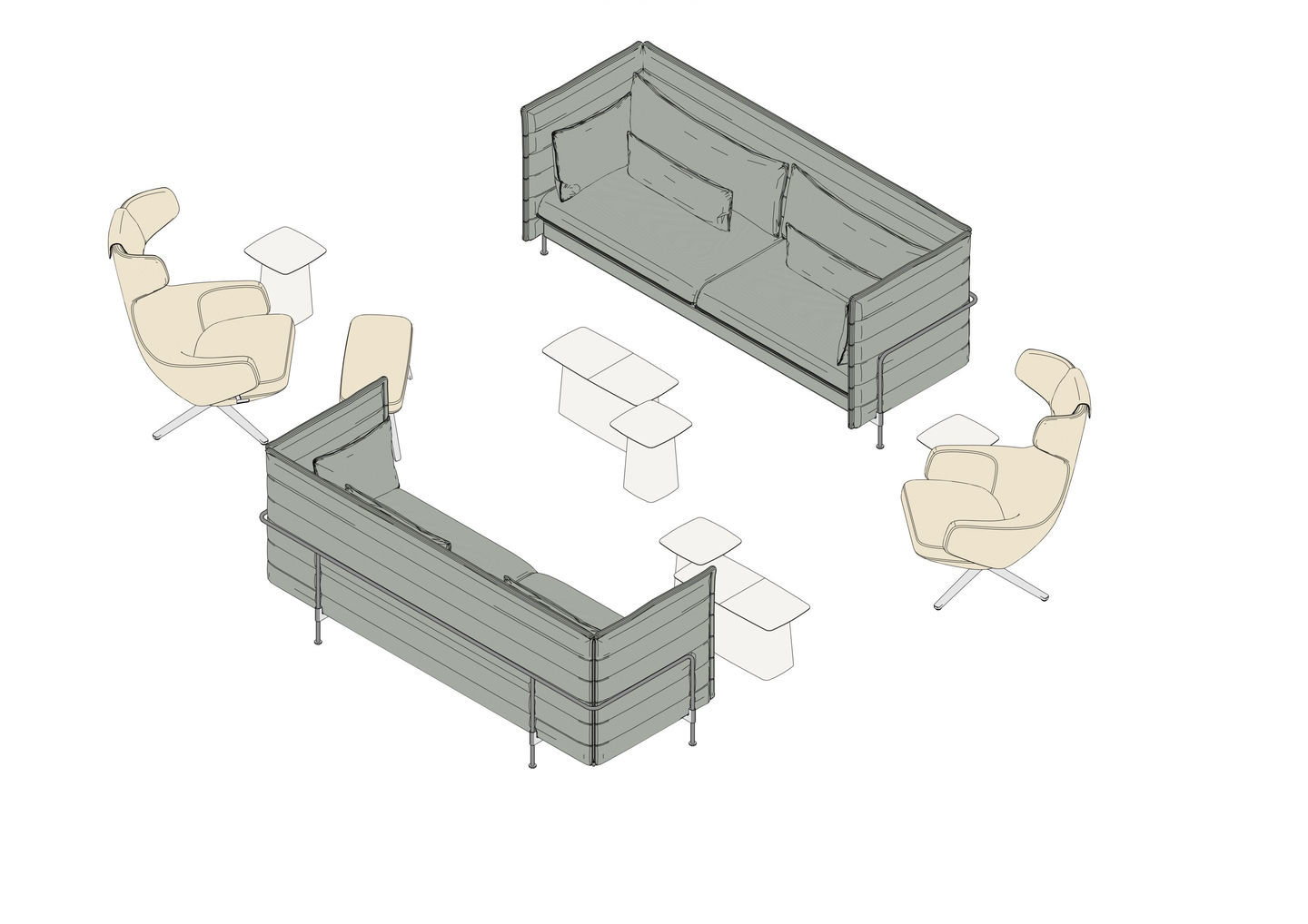 Alcove Sofa 3 Seater Lowback, Grand Repos, Panchina, Metal Side Table
