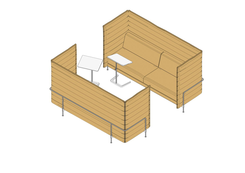 Alcove Sofa 3 Seater Highback , NesTable