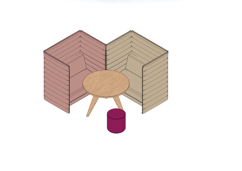 Alcove Plus Love Seat, Gueridon, Visiona Stool