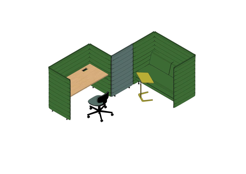 Alcove Plus Desk L, Alcove Plus Sofa 2 Seater, Alcove Plus Paravent, Rookie, NesTable